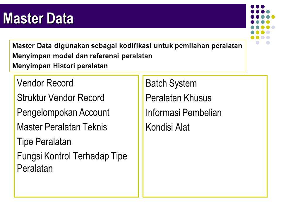 Master Data Vendor Record Struktur Vendor Record Pengelompokan Account Master Peralatan Teknis Tipe Peralatan Fungsi Kontrol Terhadap Tipe Peralatan Batch System Peralatan Khusus Informasi Pembelian Kondisi Alat Master Data digunakan sebagai kodifikasi untuk pemilahan peralatan Menyimpan model dan referensi peralatan Menyimpan Histori peralatan