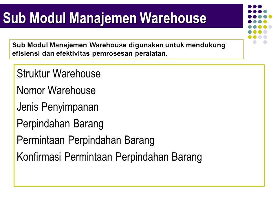 Sub Modul Manajemen Warehouse Struktur Warehouse Nomor Warehouse Jenis Penyimpanan Perpindahan Barang Permintaan Perpindahan Barang Konfirmasi Permintaan Perpindahan Barang Sub Modul Manajemen Warehouse digunakan untuk mendukung efisiensi dan efektivitas pemrosesan peralatan.