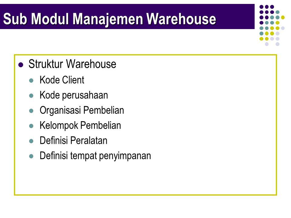 Sub Modul Manajemen Warehouse  Struktur Warehouse  Kode Client  Kode perusahaan  Organisasi Pembelian  Kelompok Pembelian  Definisi Peralatan  Definisi tempat penyimpanan