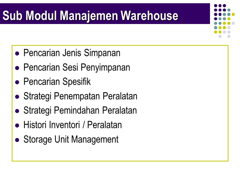 Sub Modul Manajemen Warehouse  Pencarian Jenis Simpanan  Pencarian Sesi Penyimpanan  Pencarian Spesifik  Strategi Penempatan Peralatan  Strategi Pemindahan Peralatan  Histori Inventori / Peralatan  Storage Unit Management