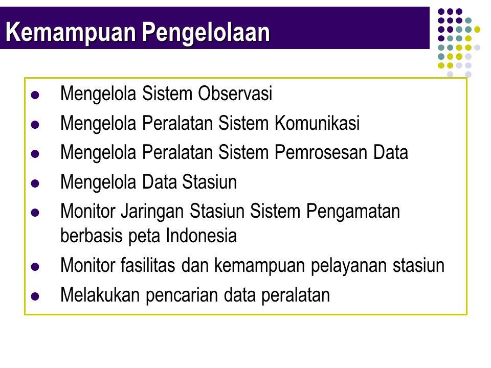 Kemampuan Pengelolaan  Mengelola Sistem Observasi  Mengelola Peralatan Sistem Komunikasi  Mengelola Peralatan Sistem Pemrosesan Data  Mengelola Data Stasiun  Monitor Jaringan Stasiun Sistem Pengamatan berbasis peta Indonesia  Monitor fasilitas dan kemampuan pelayanan stasiun  Melakukan pencarian data peralatan