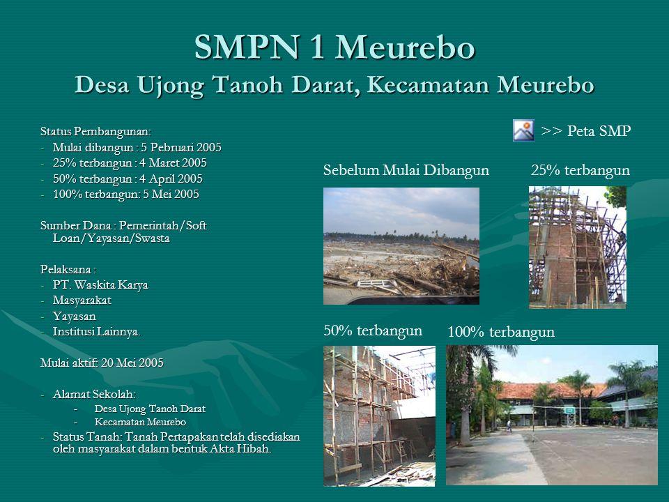 SMPN 1 Meurebo Desa Ujong Tanoh Darat, Kecamatan Meurebo Status Pembangunan: -Mulai dibangun : 5 Pebruari 2005 -25% terbangun : 4 Maret 2005 -50% terb