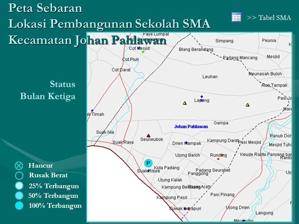 Hancur Rusak Berat 50% Terbangun 25% Terbangun 100% Terbangun Status Bulan Ketiga Peta Sebaran Lokasi Pembangunan Sekolah SMA Kecamatan Johan Pahlawan