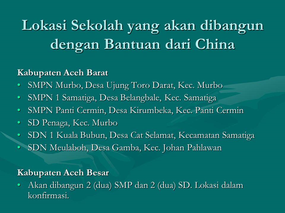 Lokasi Sekolah yang akan dibangun dengan Bantuan dari China Kabupaten Aceh Barat •SMPN Murbo, Desa Ujung Toro Darat, Kec. Murbo •SMPN 1 Samatiga, Desa