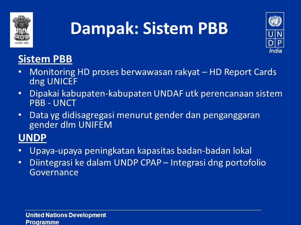 United Nations Development Programme Lasting Solutions for Development Challenges India Dampak – HDR Maharashtra • Temuan-temuan Laporan sbg input Bujet 2003-2005.