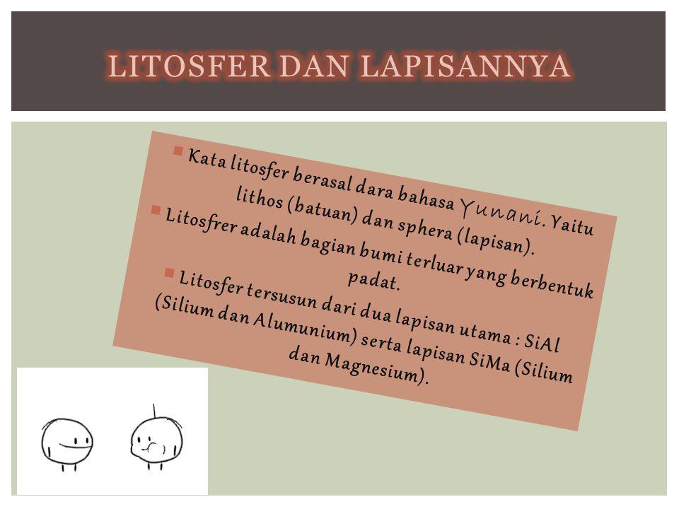  Kata litosfer berasal dara bahasa Yunani. Yaitu lithos (batuan) dan sphera (lapisan).  Litosfrer adalah bagian bumi terluar yang berbentuk padat. 