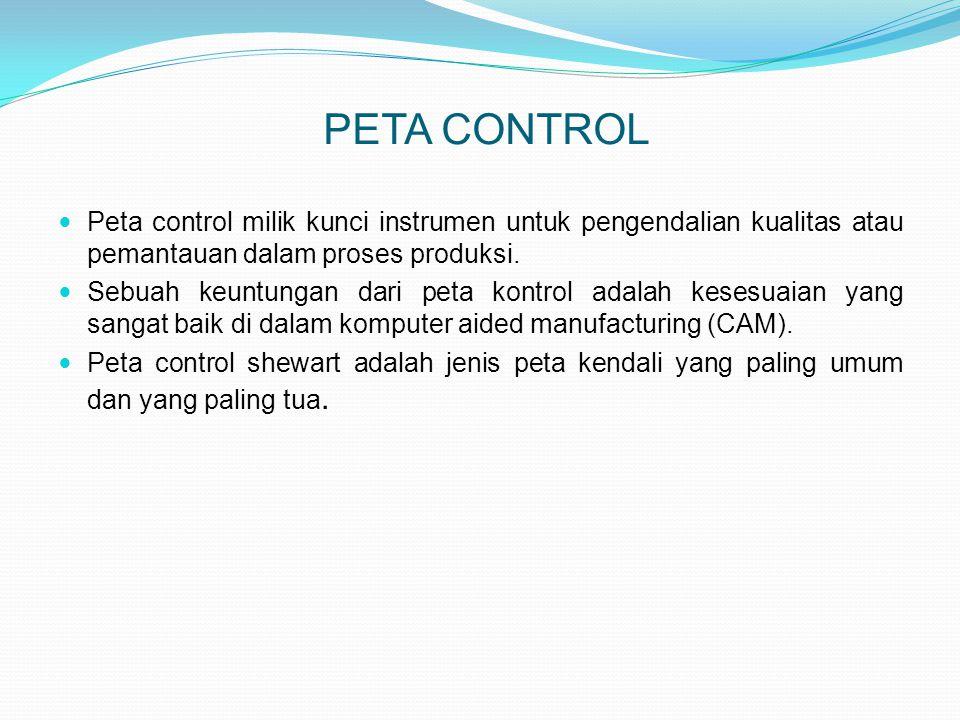 APLIKASI PETA CONTROL  Aplikasi peta control umumnya dalam menentukan apakah proses terkendali atau tidak  Banyak parameter yang diukur dan diamati, tetapi kita harus mengamati juga nilai varianbilitasnya (tingkat variansi dan dispersi).