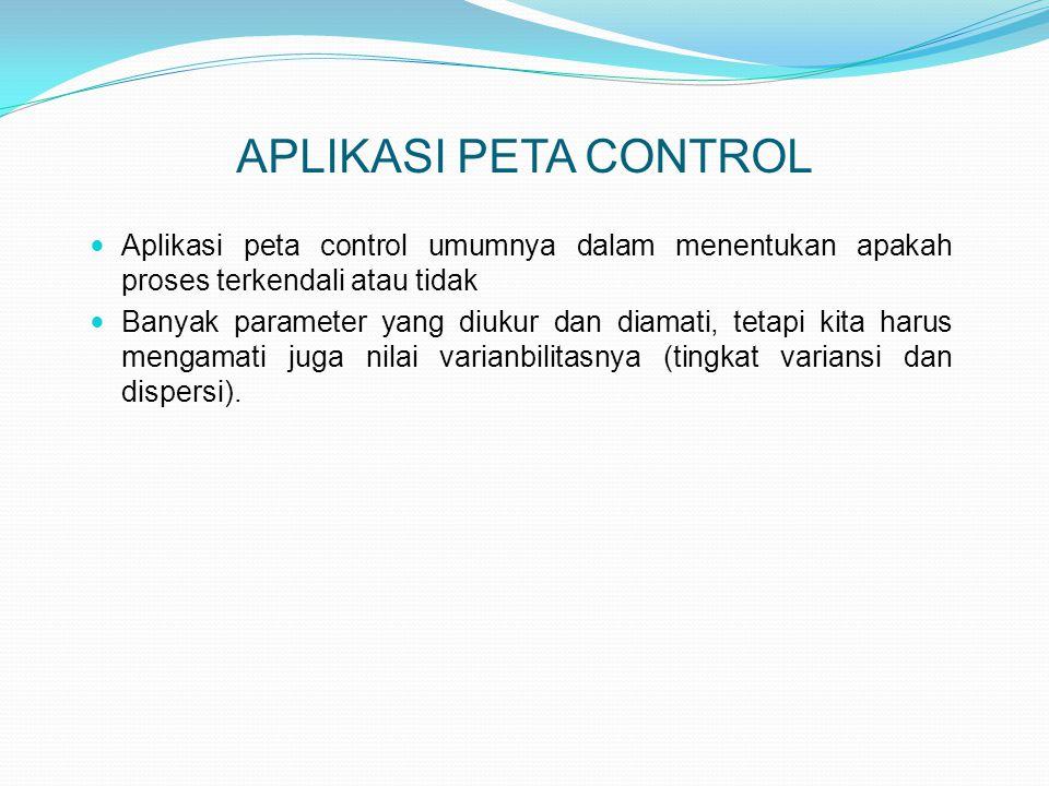 APLIKASI PETA CONTROL  Aplikasi peta control umumnya dalam menentukan apakah proses terkendali atau tidak  Banyak parameter yang diukur dan diamati,
