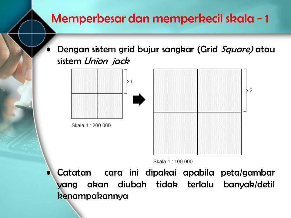 Memperbesar dan memperkecil skala - 1 •Dengan sistem grid bujur sangkar (Grid Square) atau sistem Union jack •Catatancara ini dipakai apabila peta/gam