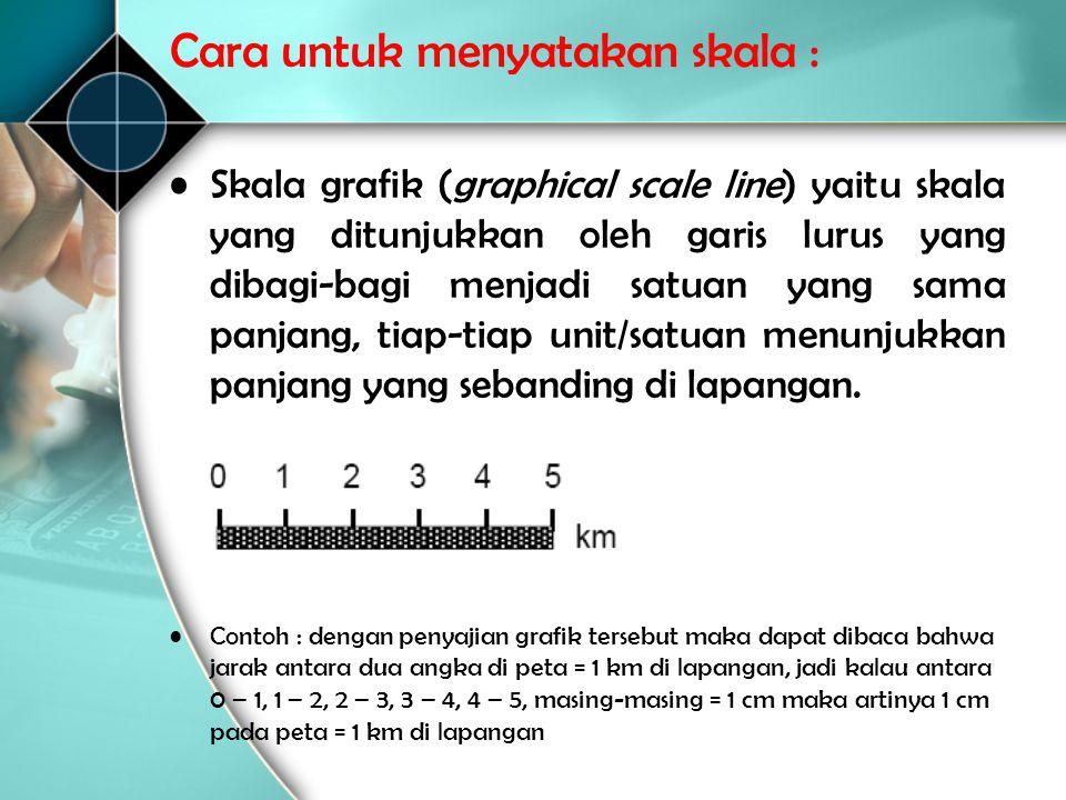 •Skala grafik (graphical scale line) yaitu skala yang ditunjukkan oleh garis lurus yang dibagi ‑ bagi menjadi satuan yang sama panjang, tiap ‑ tiap un