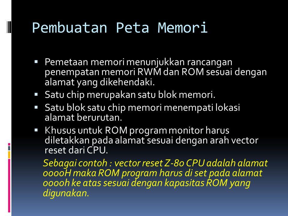 Pembuatan Peta Memori  Pemetaan memori menunjukkan rancangan penempatan memori RWM dan ROM sesuai dengan alamat yang dikehendaki.  Satu chip merupak