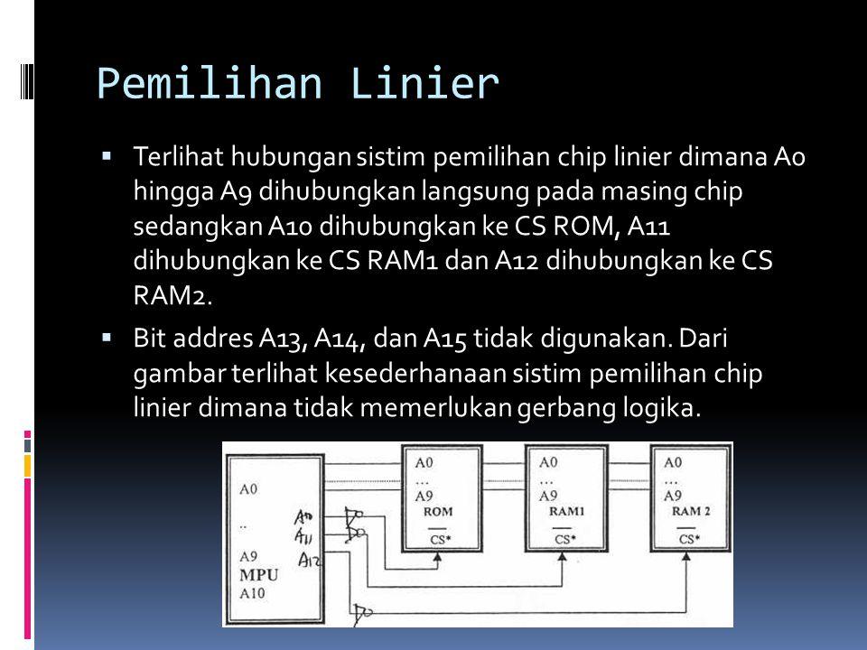 Pemilihan Linier  Terlihat hubungan sistim pemilihan chip linier dimana A0 hingga A9 dihubungkan langsung pada masing chip sedangkan A10 dihubungkan