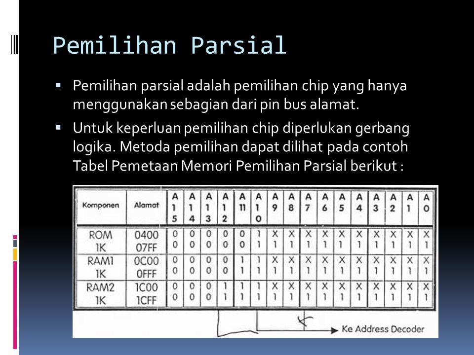 Pemilihan Parsial  Pemilihan parsial adalah pemilihan chip yang hanya menggunakan sebagian dari pin bus alamat.  Untuk keperluan pemilihan chip dipe