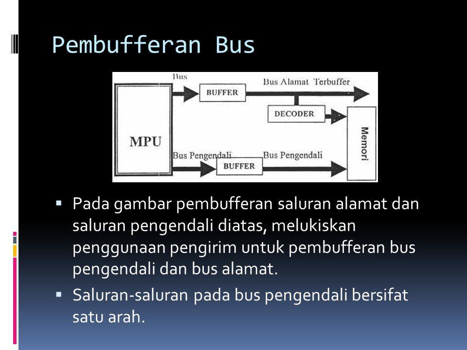 Pembufferan Bus  Pada gambar pembufferan saluran alamat dan saluran pengendali diatas, melukiskan penggunaan pengirim untuk pembufferan bus pengendal
