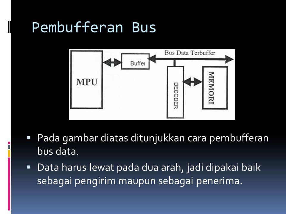 Pembufferan Bus  Pada gambar diatas ditunjukkan cara pembufferan bus data.  Data harus lewat pada dua arah, jadi dipakai baik sebagai pengirim maupu