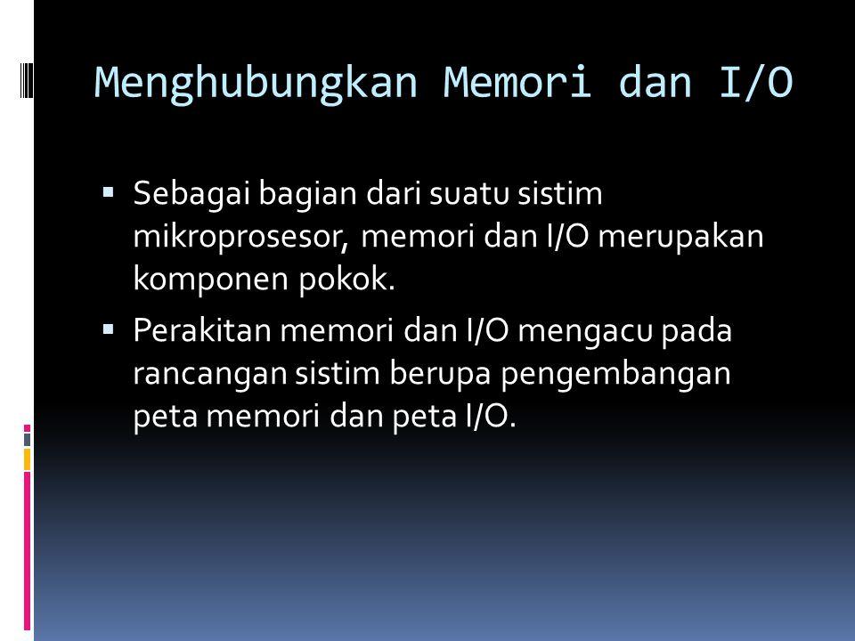 Menghubungkan Memori dan I/O  Sebagai bagian dari suatu sistim mikroprosesor, memori dan I/O merupakan komponen pokok.  Perakitan memori dan I/O men
