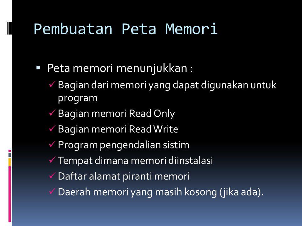 Pembuatan Peta Memori  Peta memori menunjukkan :  Bagian dari memori yang dapat digunakan untuk program  Bagian memori Read Only  Bagian memori Re