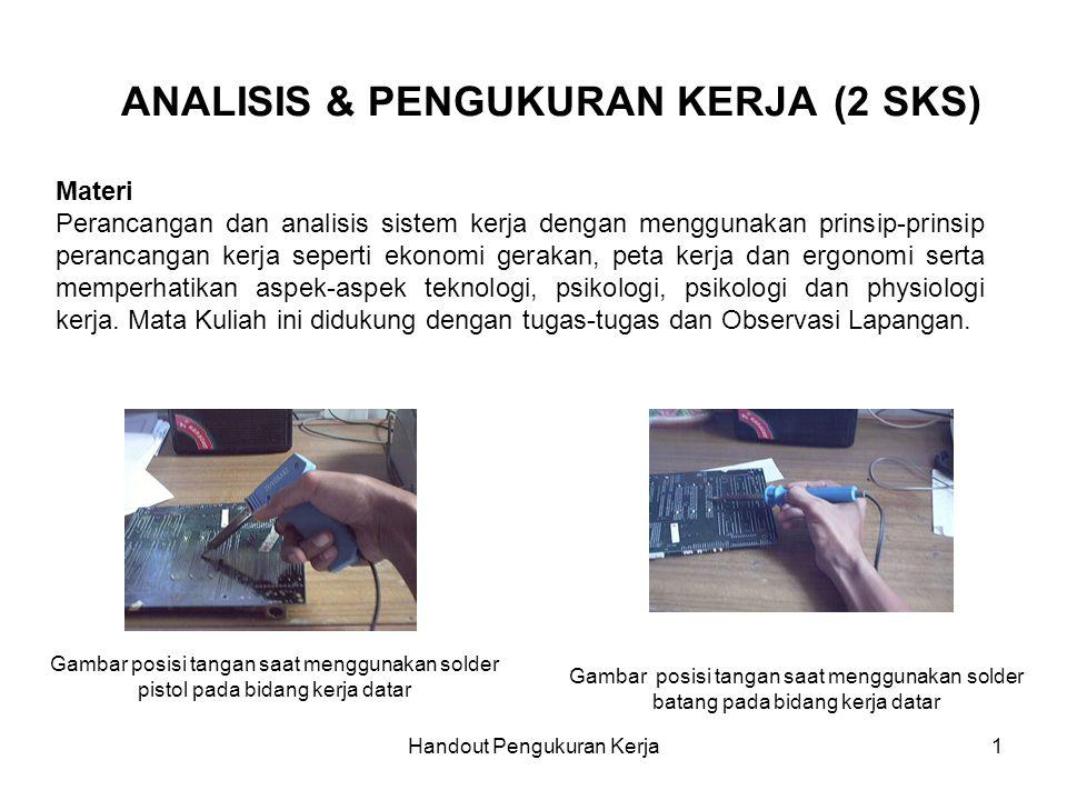 Handout Pengukuran Kerja1 ANALISIS & PENGUKURAN KERJA (2 SKS) Materi Perancangan dan analisis sistem kerja dengan menggunakan prinsip-prinsip perancan