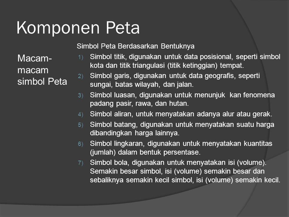 Komponen Peta Macam- macam simbol Peta Simbol Peta Berdasarkan Bentuknya 1) Simbol titik, digunakan untuk data posisional, seperti simbol kota dan tit