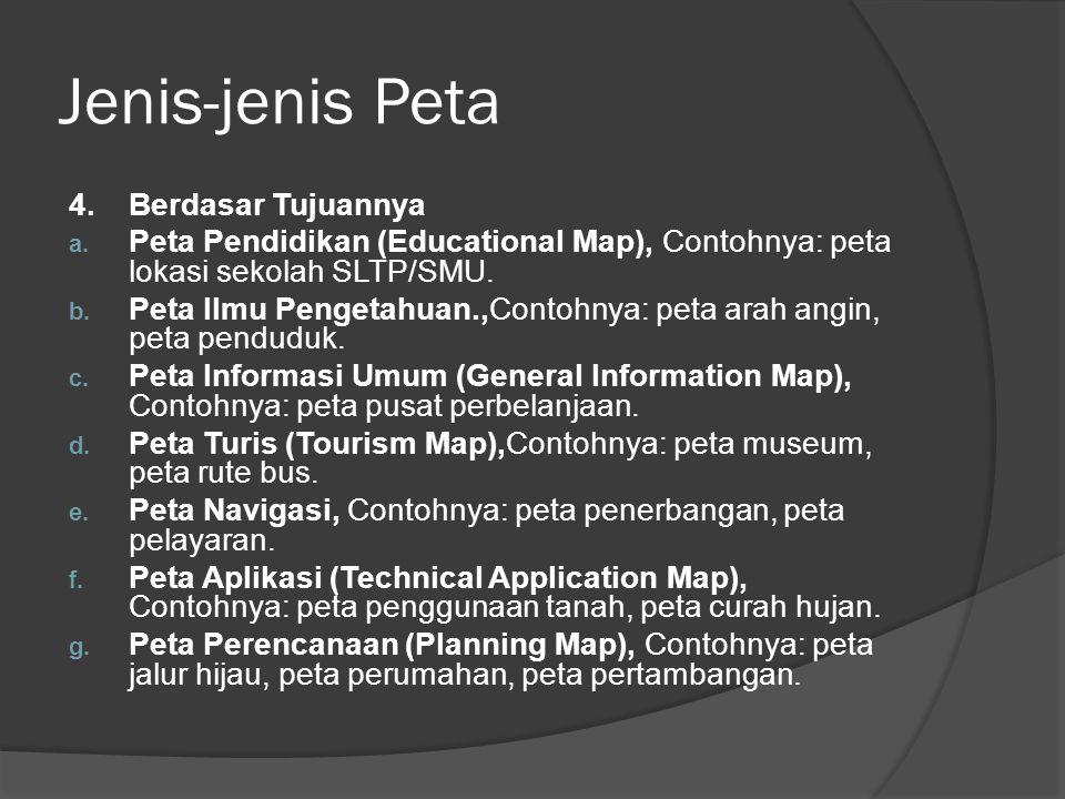 Jenis-jenis Peta 4.Berdasar Tujuannya a. Peta Pendidikan (Educational Map), Contohnya: peta lokasi sekolah SLTP/SMU. b. Peta Ilmu Pengetahuan.,Contohn