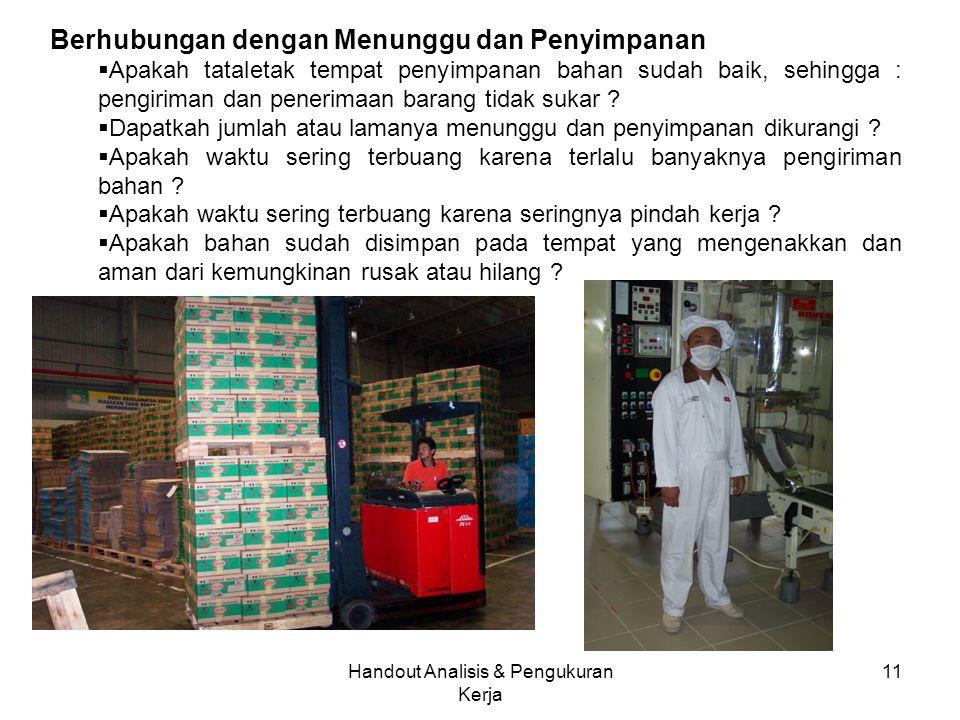 Handout Analisis & Pengukuran Kerja 11 Berhubungan dengan Menunggu dan Penyimpanan  Apakah tataletak tempat penyimpanan bahan sudah baik, sehingga : pengiriman dan penerimaan barang tidak sukar .
