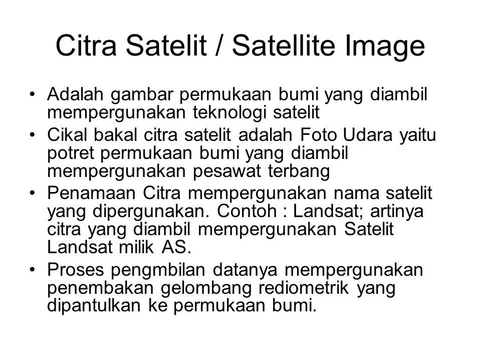 Citra Satelit / Satellite Image •Adalah gambar permukaan bumi yang diambil mempergunakan teknologi satelit •Cikal bakal citra satelit adalah Foto Udar