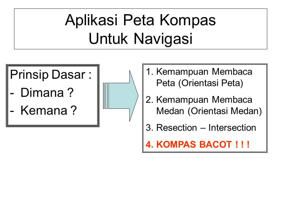 Aplikasi Peta Kompas Untuk Navigasi Prinsip Dasar : -Dimana ? -Kemana ? 1.Kemampuan Membaca Peta (Orientasi Peta) 2.Kemampuan Membaca Medan (Orientasi