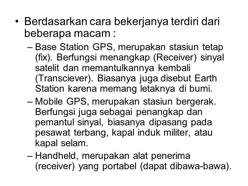 •Berdasarkan cara bekerjanya terdiri dari beberapa macam : –Base Station GPS, merupakan stasiun tetap (fix). Berfungsi menangkap (Receiver) sinyal sat