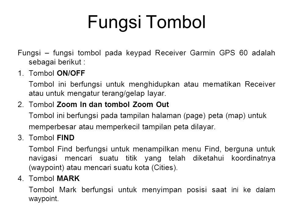 Fungsi Tombol Fungsi – fungsi tombol pada keypad Receiver Garmin GPS 60 adalah sebagai berikut : 1.Tombol ON/OFF Tombol ini berfungsi untuk menghidupk
