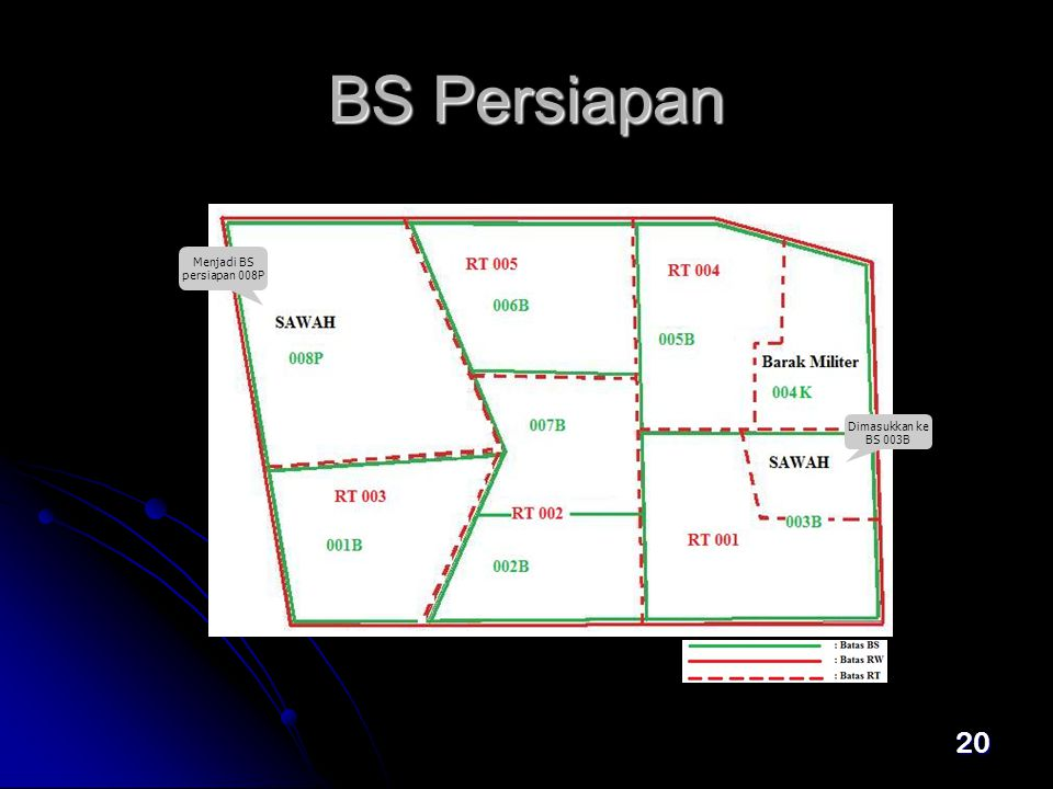 20 BS Persiapan Menjadi BS persiapan 008P Dimasukkan ke BS 003B