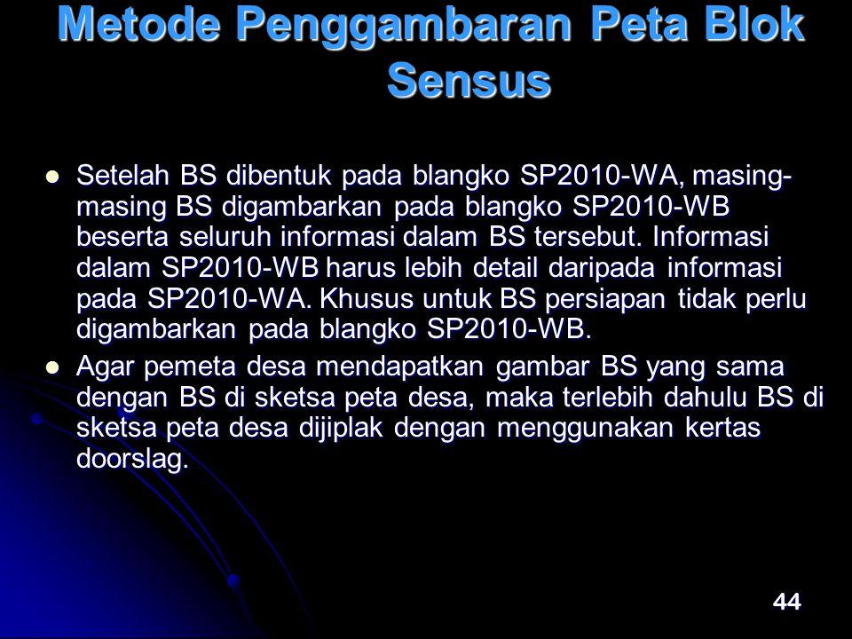 44 Metode Penggambaran Peta Blok Sensus  Setelah BS dibentuk pada blangko SP2010-WA, masing- masing BS digambarkan pada blangko SP2010-WB beserta seluruh informasi dalam BS tersebut.