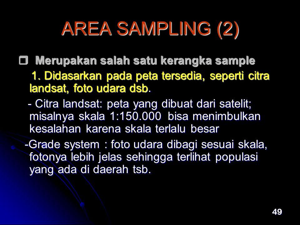 49 AREA SAMPLING (2)  Merupakan salah satu kerangka sample 1.
