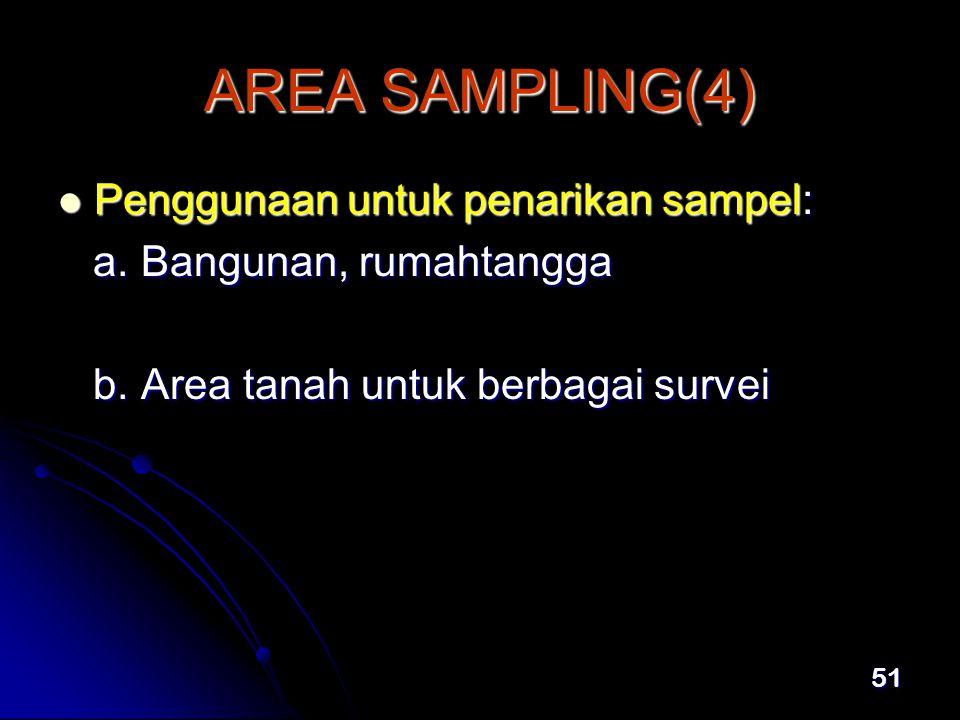 51 AREA SAMPLING(4)  Penggunaan untuk penarikan sampel: a.