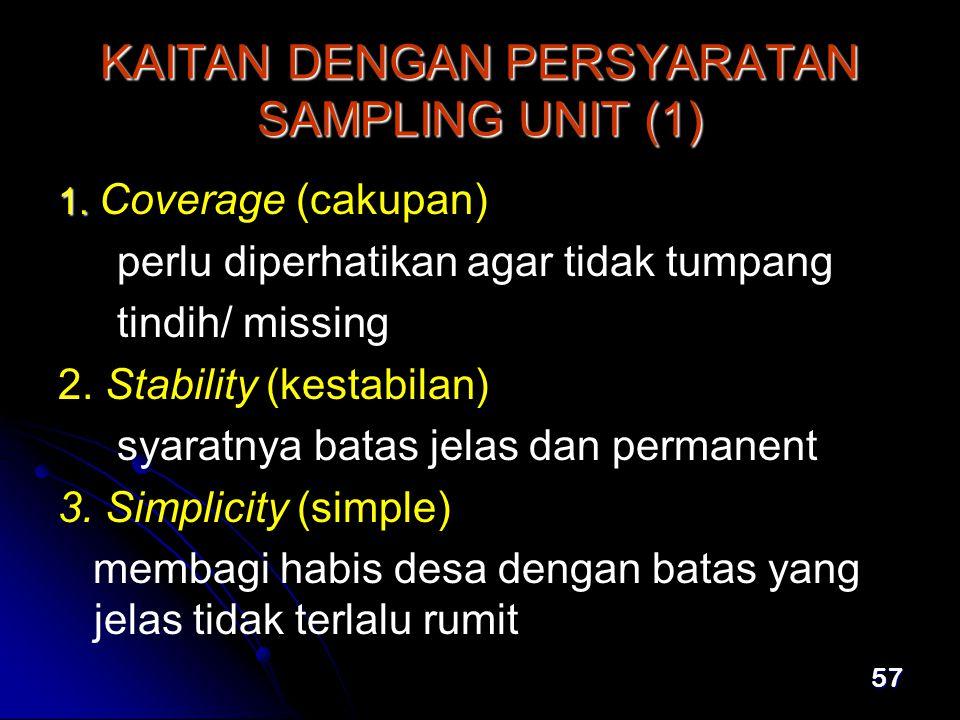 57 KAITAN DENGAN PERSYARATAN SAMPLING UNIT (1) 1.1.
