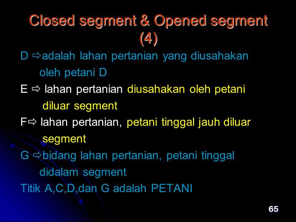 65 Closed segment & Opened segment (4) D  adalah lahan pertanian yang diusahakan oleh petani D E  lahan pertanian diusahakan oleh petani diluar segment F  lahan pertanian, petani tinggal jauh diluar segment G  bidang lahan pertanian, petani tinggal didalam segment Titik A,C,D,dan G adalah PETANI