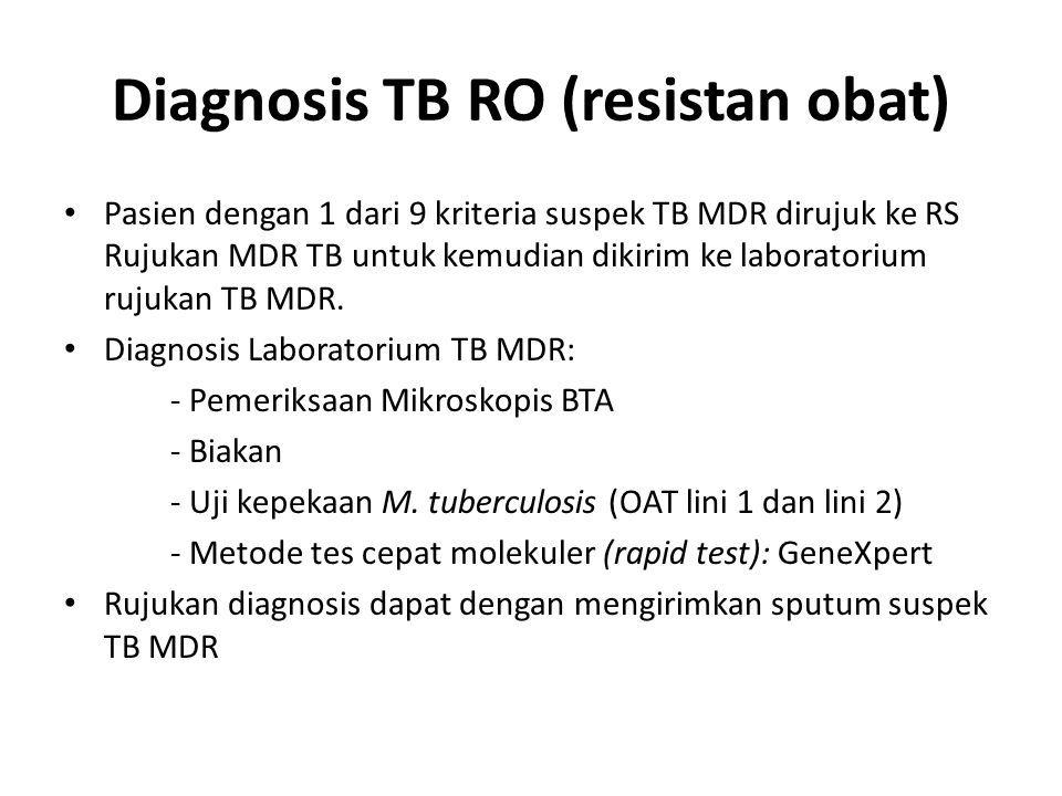 Diagnosis TB RO (resistan obat) Pasien dengan 1 dari 9 kriteria suspek TB MDR dirujuk ke RS Rujukan MDR TB untuk kemudian dikirim ke laboratorium rujukan TB MDR.