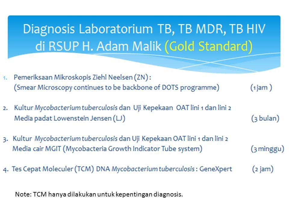 Note: TCM hanya dilakukan untuk kepentingan diagnosis.
