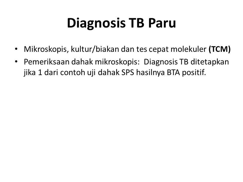 Diagnosis TB Paru Mikroskopis, kultur/biakan dan tes cepat molekuler (TCM) Pemeriksaan dahak mikroskopis: Diagnosis TB ditetapkan jika 1 dari contoh uji dahak SPS hasilnya BTA positif.