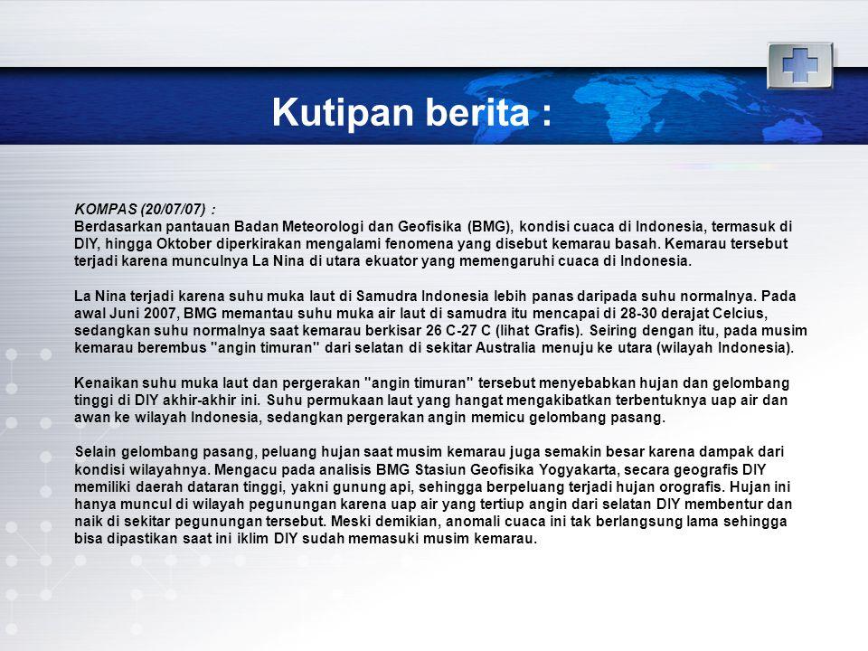 Kutipan berita : KOMPAS (20/07/07) : Berdasarkan pantauan Badan Meteorologi dan Geofisika (BMG), kondisi cuaca di Indonesia, termasuk di DIY, hingga Oktober diperkirakan mengalami fenomena yang disebut kemarau basah.