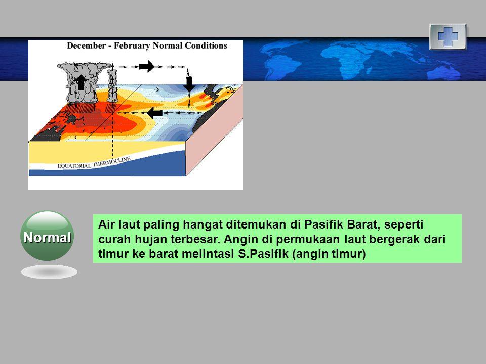 Normal Air laut paling hangat ditemukan di Pasifik Barat, seperti curah hujan terbesar.