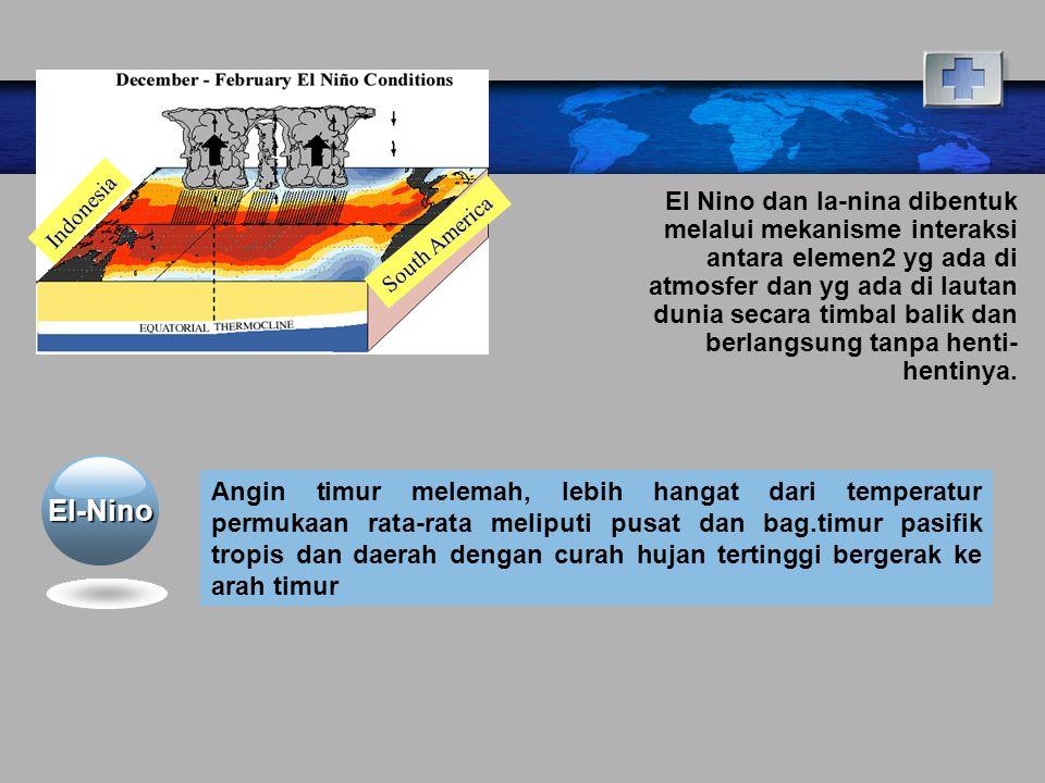 Indonesia South America El-Nino Angin timur melemah, lebih hangat dari temperatur permukaan rata-rata meliputi pusat dan bag.timur pasifik tropis dan daerah dengan curah hujan tertinggi bergerak ke arah timur El Nino dan la-nina dibentuk melalui mekanisme interaksi antara elemen2 yg ada di atmosfer dan yg ada di lautan dunia secara timbal balik dan berlangsung tanpa henti- hentinya.