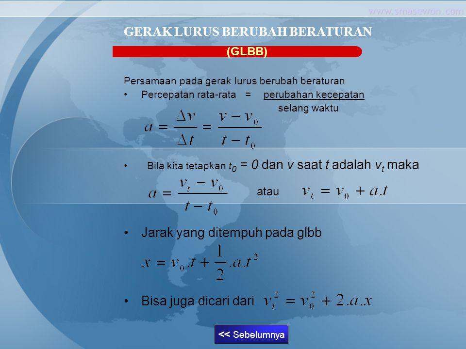 www.smasewon.com (GLBB) Persamaan pada gerak lurus berubah beraturan Percepatan rata-rata = perubahan kecepatan selang waktu Bila kita tetapkan t 0 =