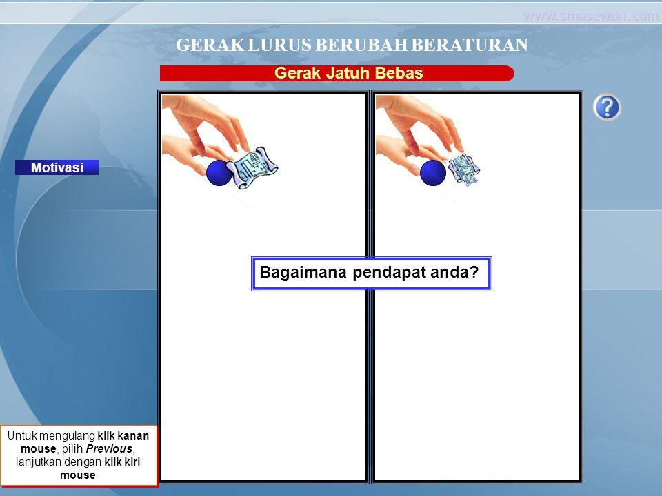 www.smasewon.com Gerak Jatuh Bebas Motivasi GERAK LURUS BERUBAH BERATURAN Klik untuk melanjutkan ! Untuk mengulang klik kanan mouse, pilih Previous, l