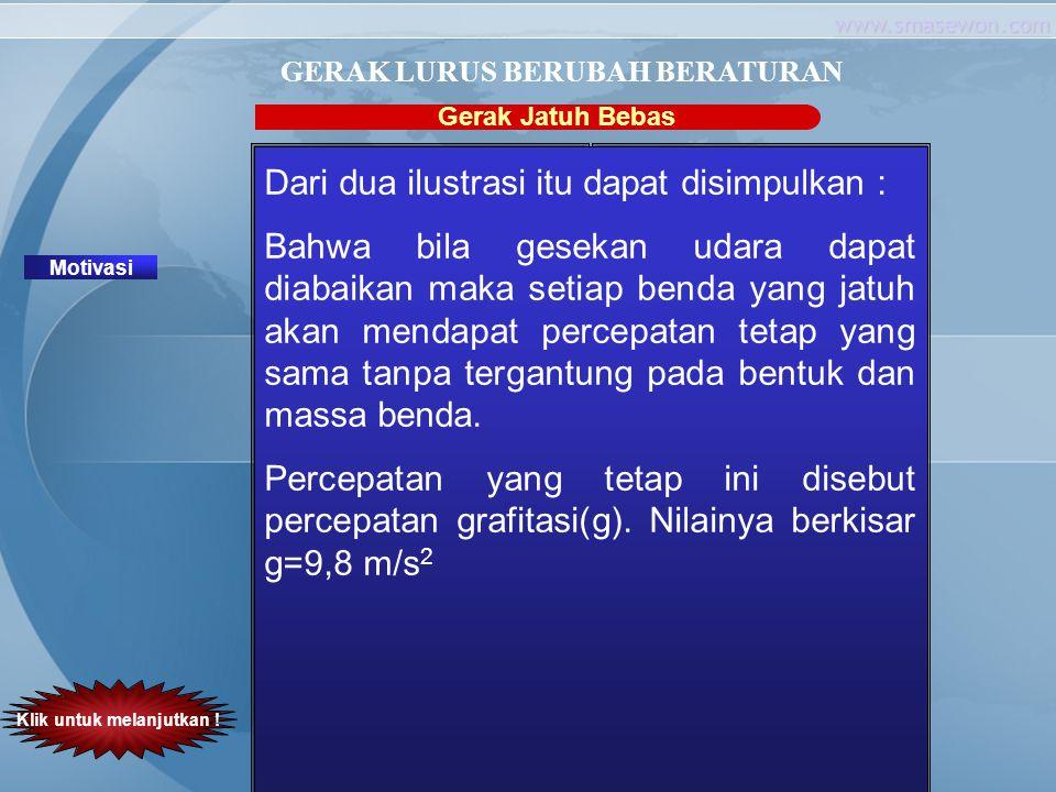 www.smasewon.com Gerak Jatuh Bebas Motivasi GERAK LURUS BERUBAH BERATURAN Mengapa penerjun mengembangkan parasutnya? Klik untuk melanjutkan ! Parasut