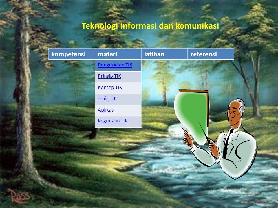 kompetensimaterilatihanreferensi Pengenalan TIK Prinsip TIK Konsep TIK Jenis TIK Aplikasi Kegunaan TIK Teknologi informasi dan komunikasi
