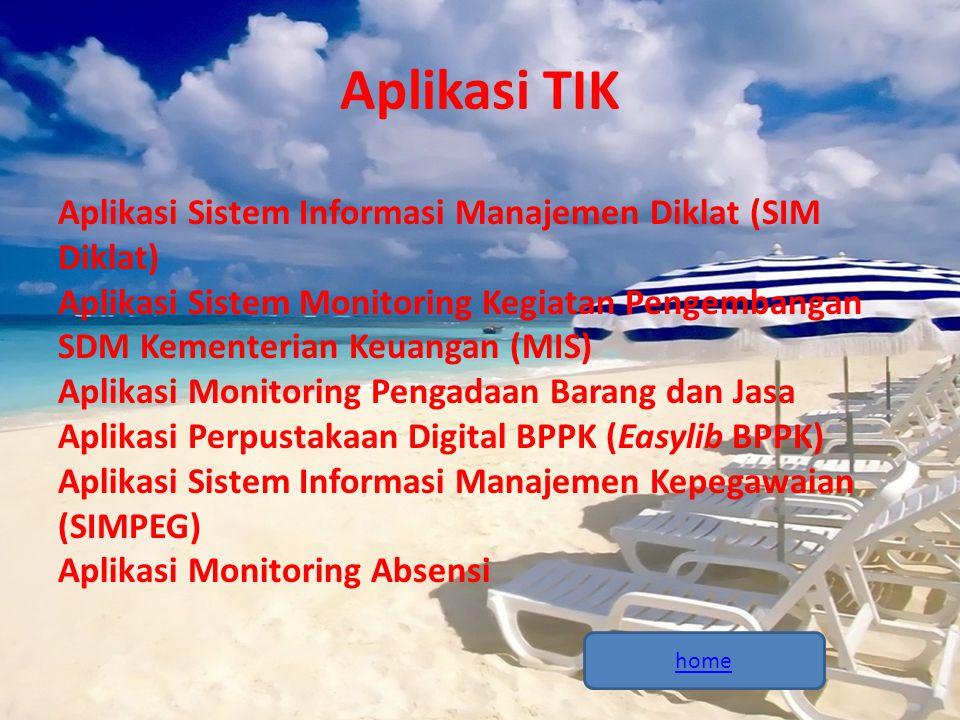 Aplikasi TIK Aplikasi Sistem Informasi Manajemen Diklat (SIM Diklat) Aplikasi Sistem Monitoring Kegiatan Pengembangan SDM Kementerian Keuangan (MIS) A