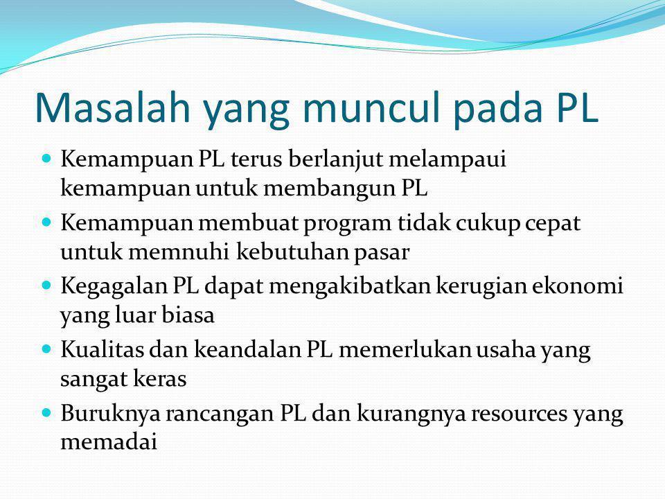 Masalah yang muncul pada PL Kemampuan PL terus berlanjut melampaui kemampuan untuk membangun PL Kemampuan membuat program tidak cukup cepat untuk memn