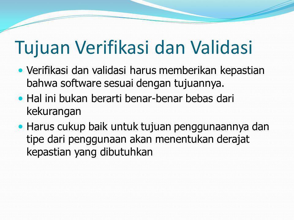 Tujuan Verifikasi dan Validasi Verifikasi dan validasi harus memberikan kepastian bahwa software sesuai dengan tujuannya. Hal ini bukan berarti benar-