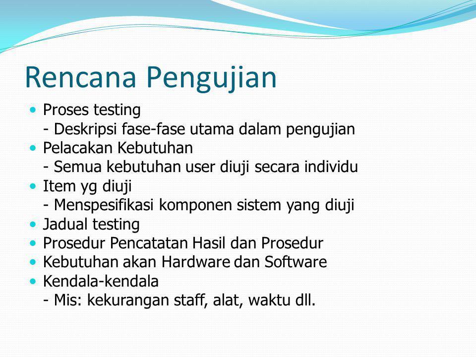 Rencana Pengujian Proses testing - Deskripsi fase-fase utama dalam pengujian Pelacakan Kebutuhan - Semua kebutuhan user diuji secara individu Item yg