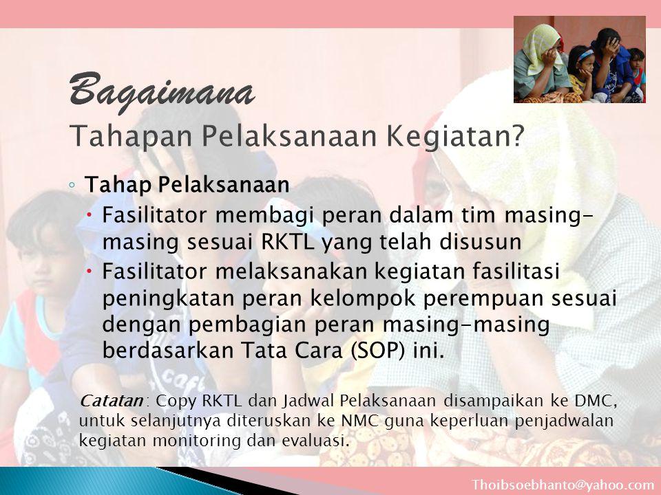 ◦ Tahap Pelaksanaan  Fasilitator membagi peran dalam tim masing- masing sesuai RKTL yang telah disusun  Fasilitator melaksanakan kegiatan fasilitasi peningkatan peran kelompok perempuan sesuai dengan pembagian peran masing-masing berdasarkan Tata Cara (SOP) ini.